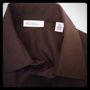 Kenneth Cole Black Spread Collar Slim Dress Shirt